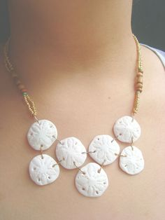 Sand Dollar Statement Necklace Handmade Polymer Clay Pendant With Gold Beaded Necklace Boho Jewelry Beach Necklace Sand Dollar Jewelry