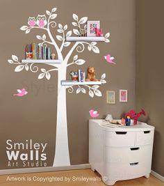 very cute love the colors! Shelf Tree Wall Decal Children Wall Decal Nursery door smileywalls, $89.00
