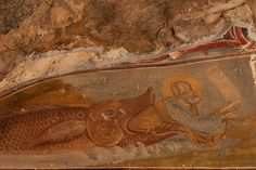 Fresco of Jonah and the Whale at Sumela Monastery, NE Turkey