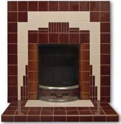 Art Deco chrome and tile fireplace