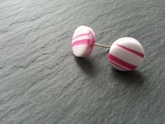 Polymer clay and sterling silver 'Dots' stud earrings in pink and white £10.00
