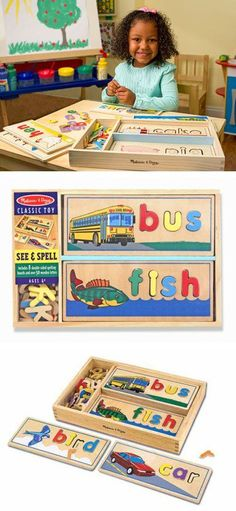 {See & Spell Learning Toy} Complete a puzzle to spell a word! This handsome wooden puzzle set helps children gain familiarity with the letters of the alphabet and their sounds as kids develop a sight-reading vocabulary.