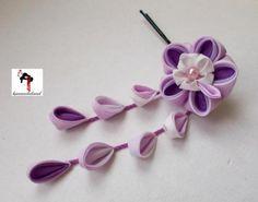 tsumami kanzashi flor japonesa para el pelo seda violeta ,organza raso,abalorios tsumami kanzashi