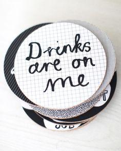 Ha! These clever coasters would be a fun and functional addition to your party décor. #entertaining #party #parties