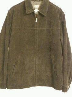 Crazy Horse A Claiborne Company Men's Black Suede Jacket Medium Satin Liner zipp #CrazyHorse #BasicCoat