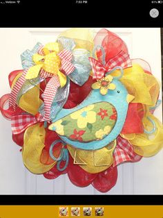 Spring Mesh Bird Wreath by southernchicbyle on Etsy, $52.50