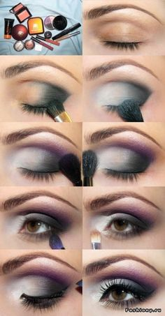 Step by step makeup number 4. Grey-purple evening makeup for brown eyes