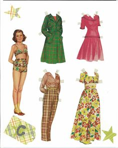 Sweetheart Paper Dolls, 1943 Saalfield #2548 (8c of 8) |  pages numbered 8a-8e are sheets of costumes and dolls I am including because they are better scans | Miss Missy Paper Dolls
