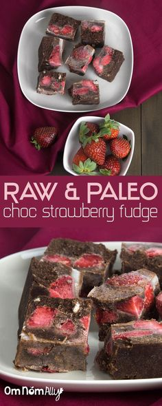Paleo & Raw Choc Strawberry Fudge @OmNomAlly | These bite-sized pieces of paleo & raw choc strawberry fudge heaven will soothe the strongest of wicked chocolate cravings and can be refrigerated or frozen depending on how long it will take to gobble them up!