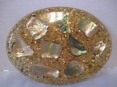 Mid Century Abalone Shell Oval Trivet Lucite Resin Gold Nautical Beach Kitchen