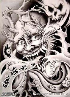 """日本传说中的忌妒之鬼纹身 — """"般若"""""""