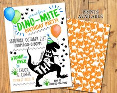 DINOSAUR PARTY INVITATION - Dinosaur Birthday Party - TRex by ATimeAsThisDesigns on Etsy https://www.etsy.com/listing/544236252/dinosaur-party-invitation-dinosaur