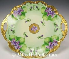 WHITE ART'S LIMOGES FRANCE HAND PAINTED VIOLETS CAKE PLATE CHARGER