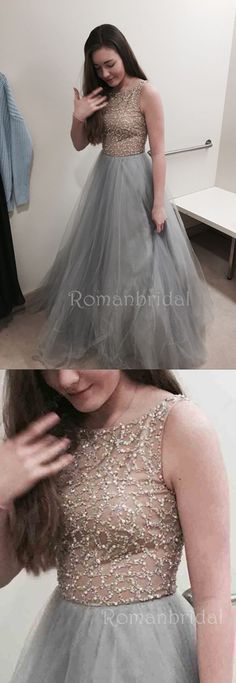 Floor-length A-line Grey Ball Gown Crew with Beaded, Elegant round neck sleeveless Long Prom Dress, PD0500