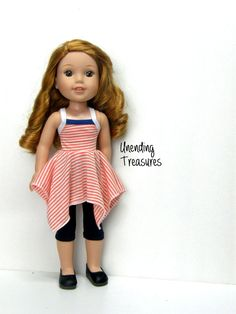 14 inch doll clothes AG doll clothes orange white striped handkerchief top navy capri leggings made to fit like wellie wishers doll clothes by Unendingtreasures on Etsy