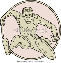 Mono line style illustration of a track and field athlete hurdle set inside circle on isolated background viewed from front.  #trackandfield #monoline #illustration