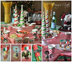 We had a fun Christmas Eve Eve Celebration last night! I had some left over party supplies from our Girl Scouts Italian Night so we had a. Italian Themed Parties, Italian Party, Italian Night, Christmas Crafts, Christmas Decorations, Holiday Decor, Bathroom Light Bar, Holiday Nights, Italian Christmas