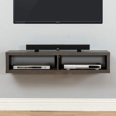 "Features:  -Skyline Walnut finishes.  -Holds 2 audio/video components and a sound bar to compliment a wall mounted television up to 65"".  -Holds up to 90 Lbs. and comes with mounting hardware for stan"