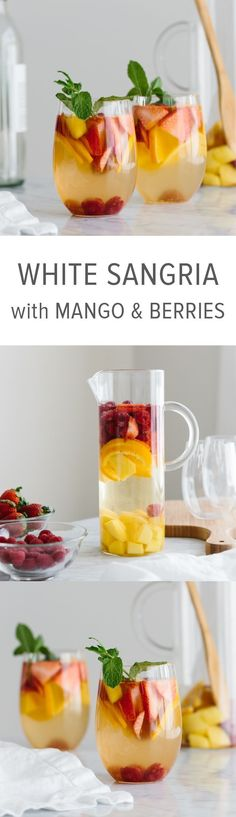 This white wine sangria with mango and berries is the perfect fruity, summer cocktail / White Sangria Recipe #cocktailrecipes