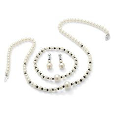 Sterling Silver Cultured Freshwater Pearl and Sapphire Necklace, Bracelet and Pierced Earring Set by PalmBeach Jewelry