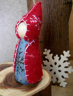 Snowflake Gnome, Queen Winter, Waldorf Christmas, blue red white, large peg doll, Waldorf Gnome, Waldorf Winter Decor, Upcycled eco toy. $28.00, via Etsy.