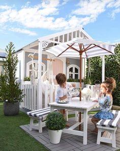 Diy Outdoor Table With Umbrella Kids Outdoor Table, Kids Picnic Table, Kids Outdoor Play, Outdoor Tables And Chairs, Kids Table And Chairs, Backyard For Kids, Garden Table And Chairs, Kids Cubby Houses, Kids Cubbies