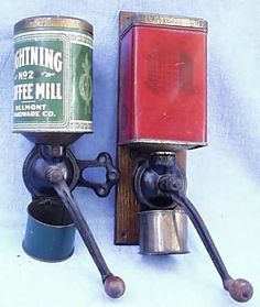 cast iron wall mount coffee grinders w/ tin hoppers and catch cups