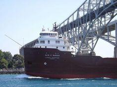 Kate e. Barker passing under the Blue Water Bridge, Port Huron, Mi.
