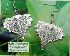 Baby Silver cottonwood leaf earrings by Nature's Leaves. $18.95, via Etsy.