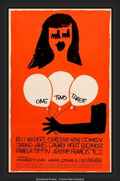 """Film: One, Two, Three (1961) Year poster printed: 1961 Country: USA Size (inches): 27"""" x 41"""" (plus linen border) Artist: Saul Bass This is an original, linen-backed one-sheet movie poster from 1961 for One, Two, Three starring James Cagney, Horst Buchholz, Pamela Tiffin, Arlene Francis, Howard St. John, Hanns Lothar, Lilo Pulver and Red Buttons. Billy Wilder directed the romantic comedy. Saul Bass is the artist for the poster. The poster measures 27""""x 41"""" and has been linen-backed for…"""