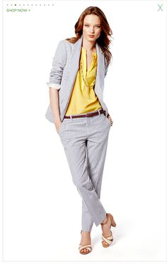work outfit by banana republic Business Attire, Business Fashion, Business Formal, Womens Fashion For Work, Work Fashion, Viernes Casual, Seersucker Pants, Suits For Women, Clothes For Women