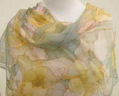 Hand painted  floral chiffon silk scarf. Pale gray pink by Irisit