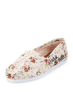 TOMS Toms Seasonal Classic Alpargata Canvas Slip-On, Blush Floral. #toms #shoes #floral