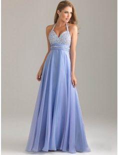 Sexy A-Line/Princess Halter Sleeveless Beading Floor-length Chiffon Dress