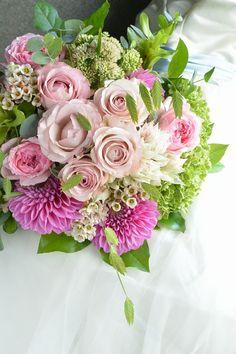 round bouquet pink white lavender green  rose dahlia