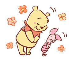 Pooh and Piglet (Lovely) / Line Sticker