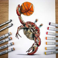 """""""Crab Dunk Rage"""" for my friend @d.v.d.etnr (give him a follow fam !) #copic #copicart #copicmarkers #crab #dunk #nbajam #crabe #basketball #slamdunk #promarkers #triamarkers #touchmarkers #crabbypatty #Regram via @tino_copic"""