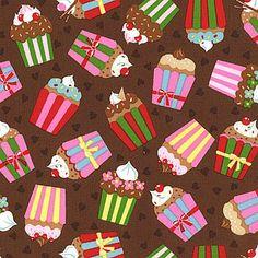 Cherry on Top - Cupcakes - Chocolate Brown - Keiki - Moda Fabrics - 1/2 Yard - 100% Cotton Quilt Fabric