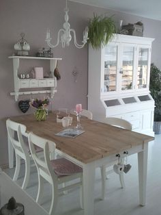 Shabby Chic Dining Room Ideas Images) - Home Magez Shabby Chic Dining Room, Shabby Chic Kitchen, Shabby Chic Homes, Shabby Chic Furniture, Shabby Chic Decor, Home Furniture, Dining Rooms, Chabby Chic, Painting Furniture