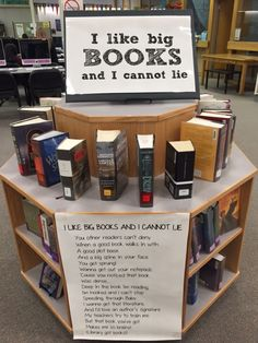 This display got people dancing in front of the circulation desk! I slightly modified a poem I found here pulled out the thickest books Icould fine and the restspeaks for itself. Library Humor, Library Work, Library Design, Teen Library Displays, Library Themes, Library Ideas, School Library Decor, Middle School Libraries, Elementary Library