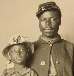 African American soldier and child