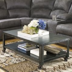 Signature Design By Ashley Hattney Gray Rectangular Cocktail Table - Coffee Tables at Hayneedle