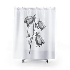Black and White Shower Curtain Floral Bath Curtain | Etsy Bathroom Photos, Bathrooms, Botanical Bathroom, Accounting Jobs, Floral Bath, Blue And Purple Flowers, Floral Shower Curtains, Morning Gif, Cool Gadgets To Buy