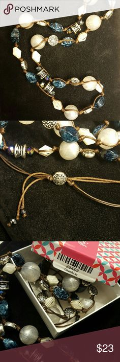 """Premier Designs Chamber's Chambray necklace Beautiful 30"""" necklace in EUC. Only worn a few times! Silver and white beads interspersed with blue stones on a brown cord. Cord is adjustable by a couple inches. Premier Designs Jewelry Necklaces"""