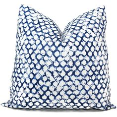Add a Pop O Blue to your room with this wood block print pillow cover in shades of blue on a white background. A small patterned wood block print withh