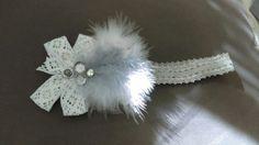baby girl headband white gray feathers lace bow rhinestones