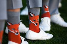 How awesome are these fox socks for groomsmen?! View the full wedding here: http://thedailywedding.com/2015/11/18/palm-springs-resort-wedding-katy-kyle/