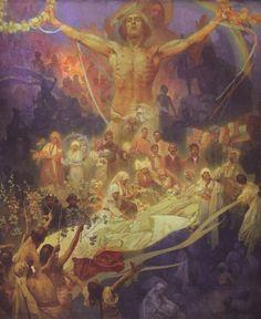 """Alphonse Mucha """"L'Epopée Slave"""" N°20 : Apothéose des Slaves (1926). Slaves pour l'humanité. Dimensions : 480 * 405 cm. Tempera sur toile."""