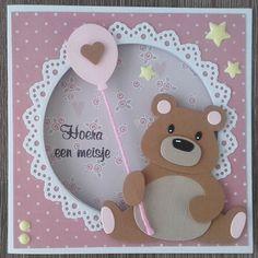 Hallo Allemaal, Ik zie dat ik twee nieuwe volgsters heb op mijn blog, welkom Martine en Sabine. Leuk dat jullie mijn zijn gaan volgen!... Creative Birthday Cards, Cute Birthday Cards, Handmade Birthday Cards, Baby Girl Cards, New Baby Cards, Handmade Greeting Card Designs, Marianne Design Cards, Bear Card, Congratulations Baby