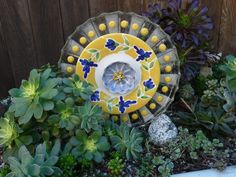 DJ's Drought Resistant Plate Flowers. #47.   Garden Yard Art glass and ceramic plate flower